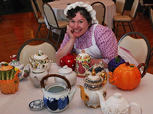 Mrs. Eaton with Teapots